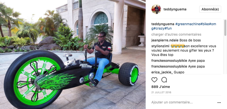 Teodorin Obiang, vice-président de la Guinée équatoriale, sur sa « green machine». Photo publiée le 21juillet 2016 sur son compte Instagram.