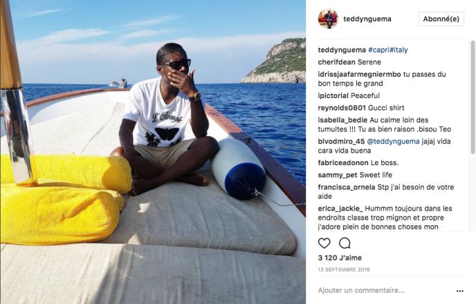 Le 13 septembre 2016, Teodorin Obiang publie sur son compte Instagram une photo de lui sur un bateau à Capri, en Italie.