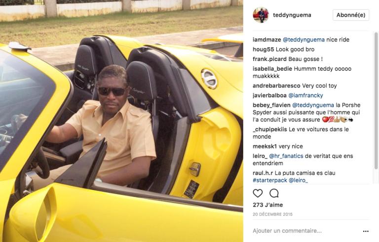 Teodorin Obiang au volant d'une de ses nombreuses voitures de luxe. Photo publiée le 20décembre 2015sur son compte Instragram.