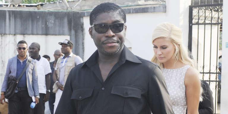 Teodoro Nguema Obiang Mangue, dit « Teodorin », et sa compagne, Christina D. Mikkelsen, en décembre 2014, à Malabo, en Guinée équatoriale.