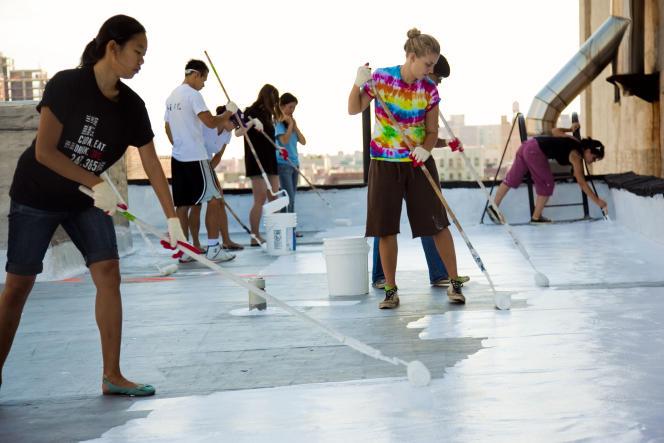 Le «White roof project» a vu le jour à New York, et promet de faire passer la réflexion de 20% à 85%, et la température moyenne à l'intérieur du bâti de 46°C à 26°C, quand la température extérieure est de 32°C.