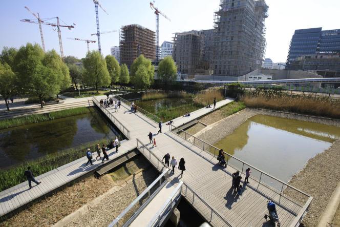 Le chantier de l'écoquartier Clichy Batignolles, dans le 17e arrondissement de Paris.