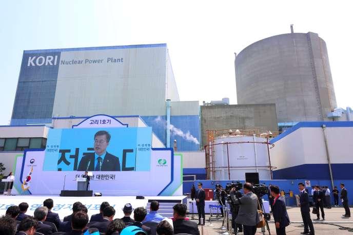 Le président sud-coréen, Moon Jae-In, lors de son discours prononcé à l'occasion de l'arrêt définitif de la tranche 1 de la centrale de Gori (Sud-Est).