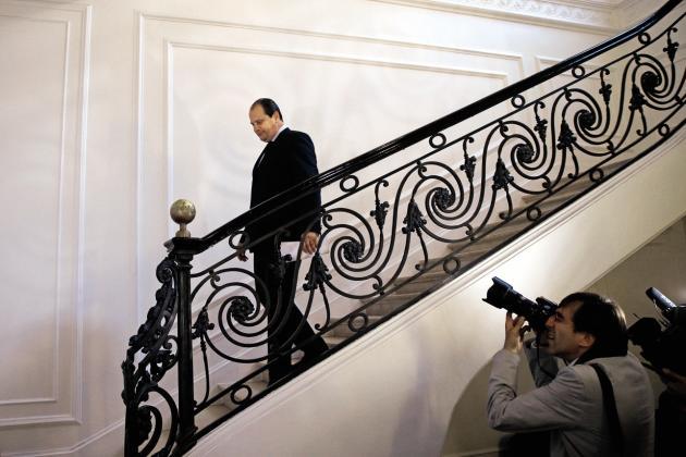 Jean-Christophe Cambadélis, au siège du parti, le soir du premier tourdes législatives. Battu dans sa circonscription parisienne,il a annoncé qu'il quittait la direction du PS.