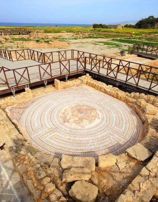 La mosaïque de la Villa de Thésée dans le parc archéologique de Paphos, classé au Patrimoine mondial de l'Unesco.