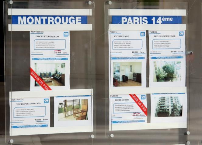 Une agence immobilière, à Paris, en 2008.
