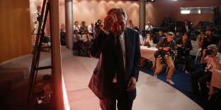 François Bayrou pendant sa conférence de presse au siège du MoDem, le 21 juin 2017.