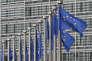 Drapeaux européens devant la Commission européenne à Bruxelles.