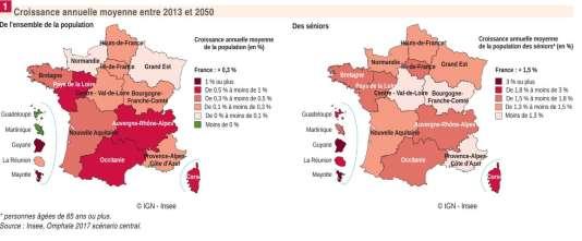 Les régions avec les plus fort taux de vieillissement annuel de la population seront aussi celles qui verront le plus s'accroître leur population globale.