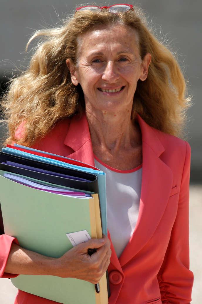 La ministre de la justice Nicole Belloubet quittant le conseil des ministres, à l'Elysée, le 22 juin.