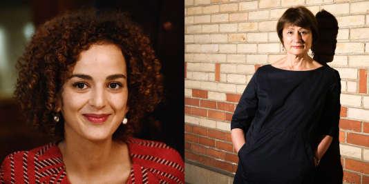 A gauche Leïla Slimani, à droite Catherine Millet.