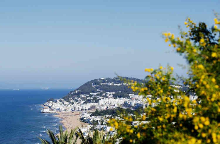 Vue plongeante sur sur la baie de La Marsa, banlieue chic de Tunis.