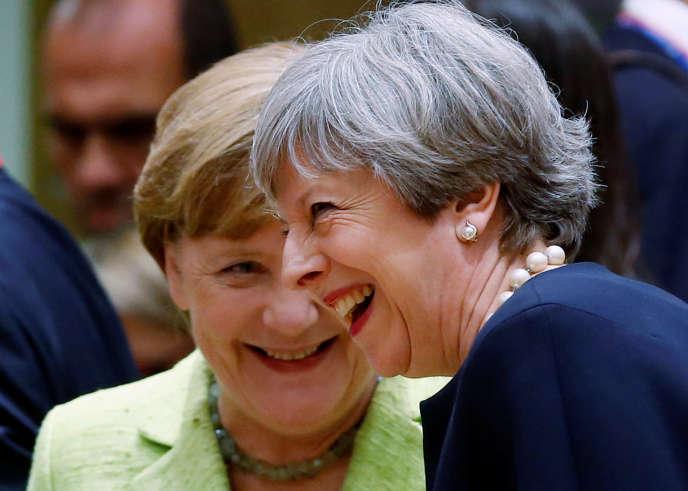 La chancelière allemande, Angela Merkel, et la première ministre britannique, Theresa May, jeudi 22 juin, à Bruxelles.