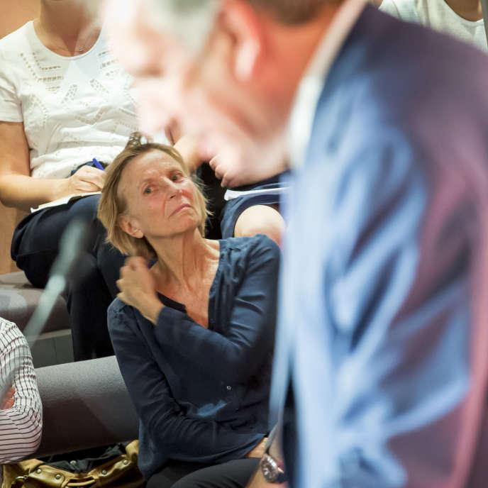 Marielle de Sarnez, lors de la conférence de presse de François Bayrou, au siège du MoDem, le 21 juin.
