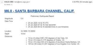 L'e-mail envoyé par l'USGS et alertant d'un séisme le 29 juin 2025.