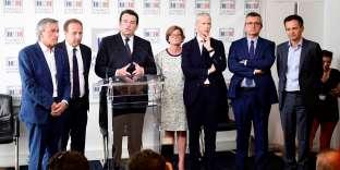 Thierry Solère, député des Hauts-de-Seine, présente le groupe Les Républicains constructifs, UDI et indépendants, à l'Assemblée, le 21 juin.
