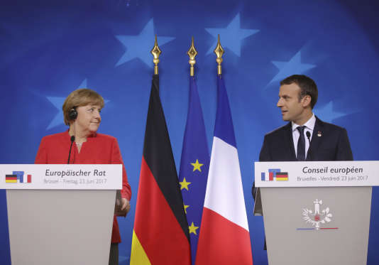 Angela Merkel et Emmanuel Macron, à Bruxelles le 23 juin.