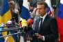 Emmanuel Macron s'adresse à la presse à son arrivée au conseil européen, à Bruxelles, le 22 juin.