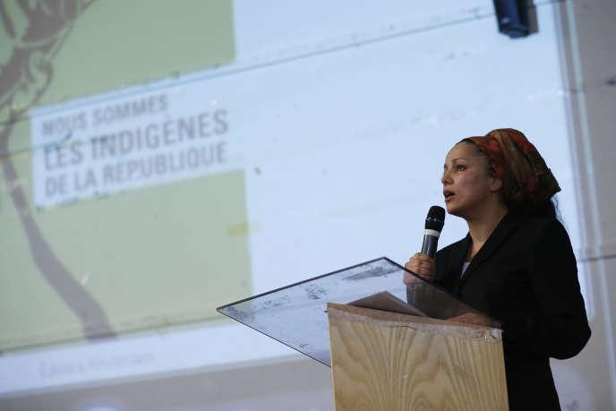 Houria Bouteldja, porte-parole du Parti des indigenes de la République, à Saint-Denis (Seine-Saint-Denis), le 8 mai 2015.