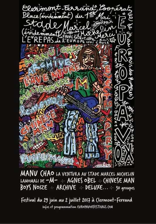 Affiche du festival Europavox, à Clermont-Ferrand, du 29 juin au 2 juillet.