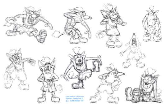 Premiers croquis par Joe Person, de Willy the Wombat, qui deviendra Crash Bandicoot.
