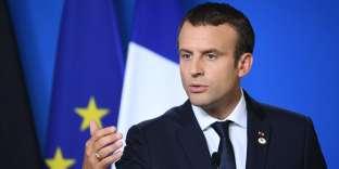 Le président français Emmanuel Macron lors de sa conférence de presse commune avec la chancelière allemande Angela Merkel à Bruxelles, le 23 juin.