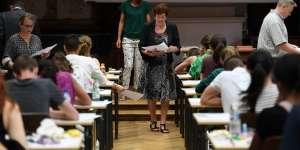 Une épreuve du baccalauréat au lycée Fustel de Coulanges à Strasbourg.