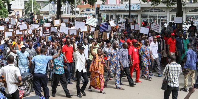 Le 22 juin 2017 à Cotonou, manifestation contre les réformes libérales mises en place par le président Talon depuis son élection en mars 2016.