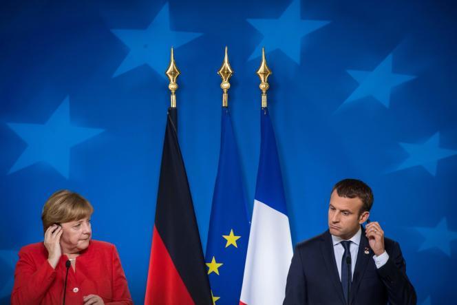Conférence de presse commune de la chancelière Angela Merkel et du président Emmanuel Macron, à Bruxelles, le 23 juin.