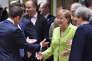 Emmanuel Macron, Angela Merkel et Theresa May, à Bruxelles, le 22 juin.