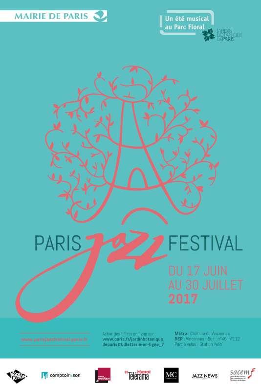 L'affiche du Paris Jazz Festival, organisé du 17 juin au 30 juillet, au Parc floral de Paris.