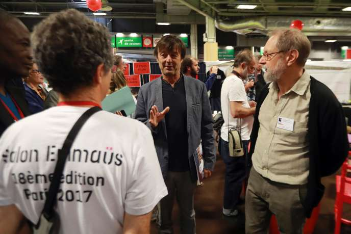 Nicolas Hulot auSalon Emmaüs, dimanche 25 juin à Paris.