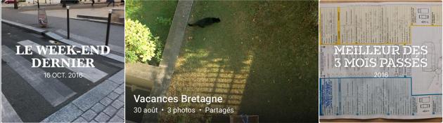 Trois sélections automatiques de photos, par Apple et Google : un passage clouté avec poubelle, un jardin breton à Paris, et un constat d'assurance.