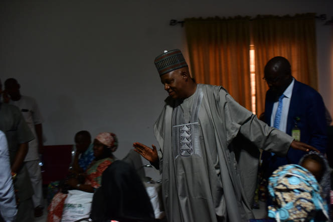 Kashim Shettima, gouverneur de l'Etat de Borno, à l'aéroport deMaiduguri, en mai.