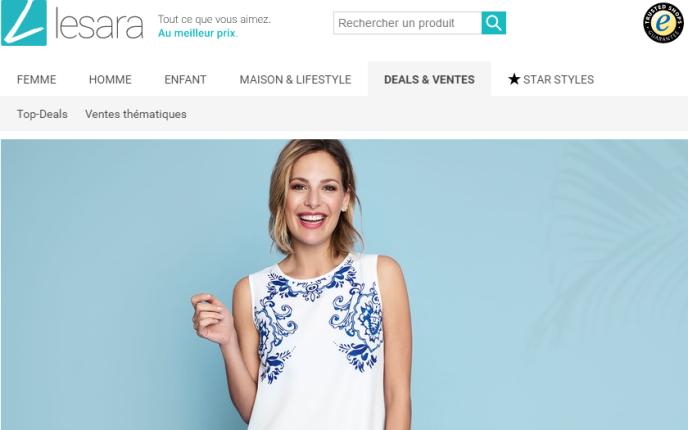 «Moins de 3 % des articles [de Lesara] finiraient en promotion, ce qui lui permet d'afficher des prix de soldeur dès le départ» (Photo: capture d'écran de la page d'accueil du site Lesara).