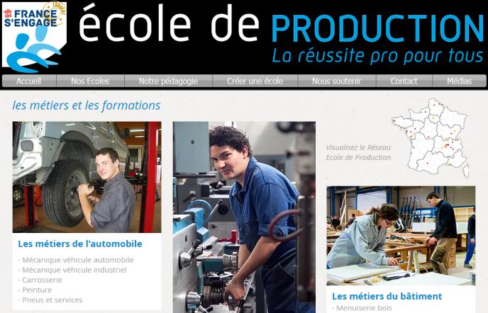 « Les jeunes formés au sein des écoles de production intègrent avec succès la vie professionnelle, ou font le choix de poursuivre leurs études à travers un cursus professionnalisant» (Photo: capture d'écran de la page d'accueil du site Ecole de production).