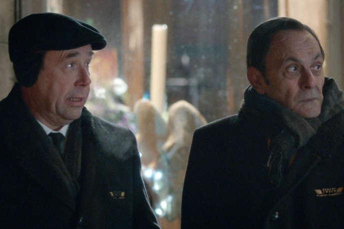Olivier Gourmet et Jean-Pierre Bacri dans le film français de Gérard Pautonnier,«Grand froid».