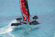 This photo provided by America's Cup Events Authority shows Emirates Team New Zealand, foreground, and Oracle Team USA competing in an America's Cup sailing race in Hamilton, Bermuda, Monday, June 26, 2017. (Gilles Martin-Raget/ACEA via AP)