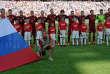 L'équipe de Russie lors du match amical face au Maroc, le 6 juin 2014, trois jours après les prélèvements valant aux joueurs d'être cités dans le rapport McLaren.