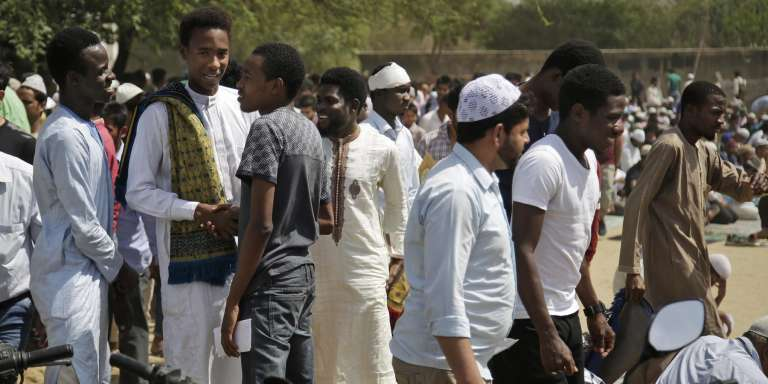 Dans la banlieue de New Delhi, des étudiants africains, en mars 2017.