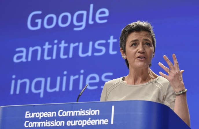 Margrethe Vestager, commissaire à la concurrence, avait adressé un acte formel d'accusation à l'encontre de Google le 15 avril 2015.