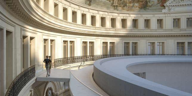 Une image de synthèse montrant le promenoir, au sommet du cylindre, et l'oculus, à la Bourse de commerce (Paris) qui accueillera les œuvres de la Fondation Pinault.©ARTEFACTORY LAB ; TADAO ANDO ARCHITECT & ASSOCIATES ; NEM/NINEY & MARCA ARCHITECTES ; AGENCE PIERRE-ANTOINE GATIER