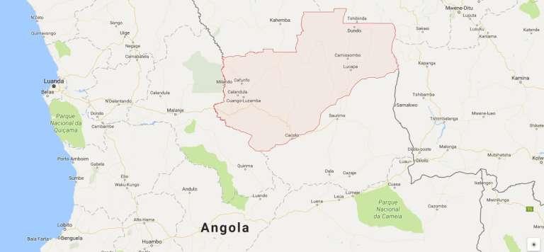 En rose, la province de Lunda-Nord, dont le mouvement Lunda Tchokwe réclame l'indépendance. Le 24 juin, un manifestation séparatiste a été réprimée par la police à balles réelles, faisant un mort et de nombreux blessés.