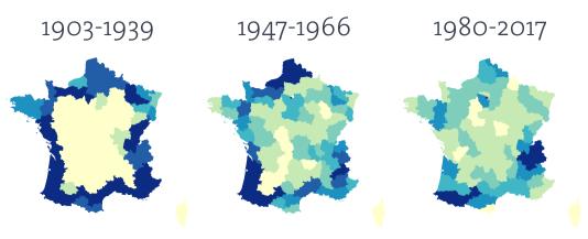 L'évolution du tracé du Tour de 1903 à 2017, vers une concentration sur les massifs montagneux.