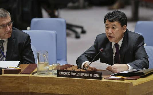 Le numéro deux nord-coréen à l'ONU, Kim In-ryong, lors d'un débat sur la non-prolifération aux Nations unies, le 28 juin.