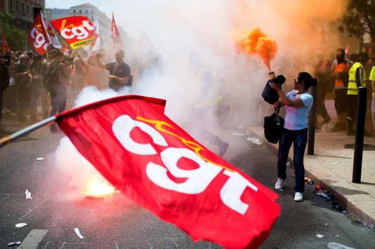 Manifestation de la CGT contre la réforme du code du travail, dans le centre de Marseille, le 26 mai.
