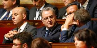 La Republique En Marche party's group president at the French national assembly, Richard Ferrand (C) attends a session at the National Assembly in Paris on June 28, 2017, one day after the inaugural session of the 15th legislature of the French Fifth Republic. / AFP / GEOFFROY VAN DER HASSELT