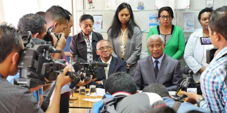 Conférence de presse du Bureau indépendant anti-corruption(Bianco), à Antananarivo, le 6 avril 2017.