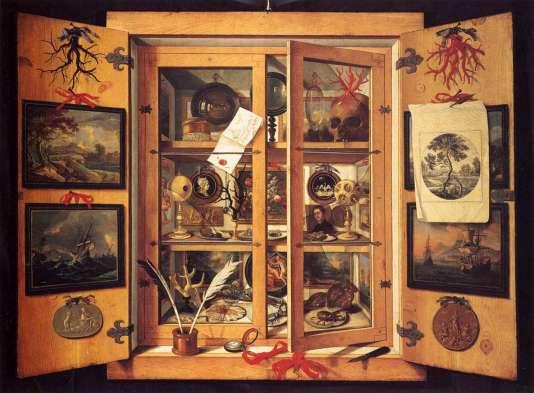 « Cabinet de curiosités», huile sur toile de Domenico Remps (vers 1689).Museo dell'Opificio delle Pietre Dure, Florence.