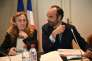 French Prime Minister Edouard Philippe (R) speaks next to Justice Minister Nicole Belloubet (L) during a governmental seminar in Nancy on July 1, 2017. / AFP / FRANCOIS LO PRESTI